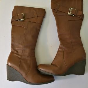 Genuine leather long wedges boots